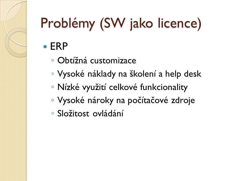 Problémy (SW jako licence) ERP ◦ Obtížná customizace ◦ Vysoké náklady na školení a help desk ◦ Nízké využití celkové funkcionality ◦ Vysoké nároky na