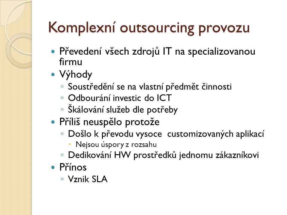 Komplexní outsourcing provozu Převedení všech zdrojů IT na specializovanou firmu Výhody ◦ Soustředění se na vlastní předmět činnosti ◦ Odbourání inves