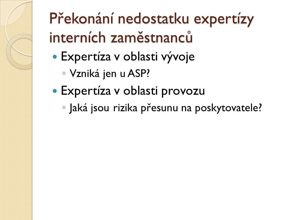Překonání nedostatku expertízy interních zaměstnanců Expertíza v oblasti vývoje ◦ Vzniká jen u ASP? Expertíza v oblasti provozu ◦ Jaká jsou rizika pře