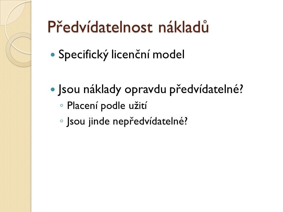 Předvídatelnost nákladů Specifický licenční model Jsou náklady opravdu předvídatelné? ◦ Placení podle užití ◦ Jsou jinde nepředvídatelné?