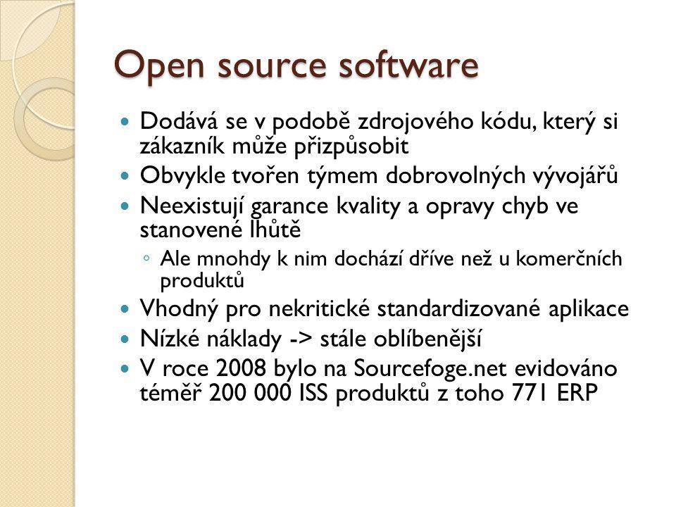 Open source software Dodává se v podobě zdrojového kódu, který si zákazník může přizpůsobit Obvykle tvořen týmem dobrovolných vývojářů Neexistují gara