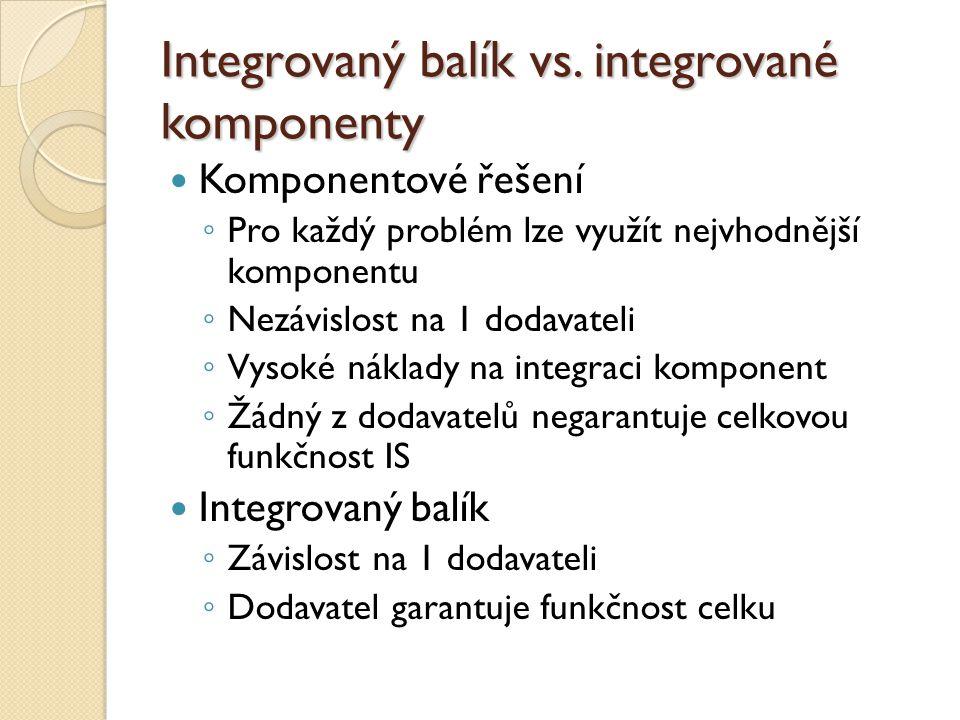 Integrovaný balík vs. integrované komponenty Komponentové řešení ◦ Pro každý problém lze využít nejvhodnější komponentu ◦ Nezávislost na 1 dodavateli