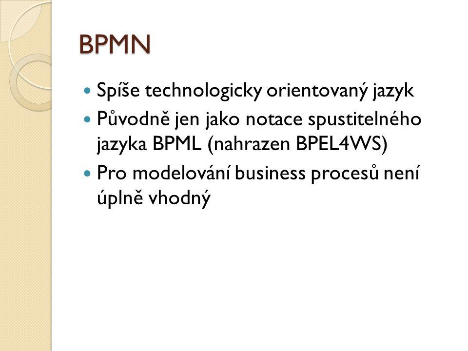 BPMN Spíše technologicky orientovaný jazyk Původně jen jako notace spustitelného jazyka BPML (nahrazen BPEL4WS) Pro modelování business procesů není ú