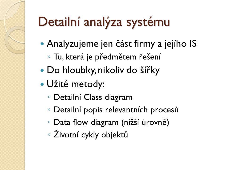 Detailní analýza systému Analyzujeme jen část firmy a jejího IS ◦ Tu, která je předmětem řešení Do hloubky, nikoliv do šířky Užité metody: ◦ Detailní