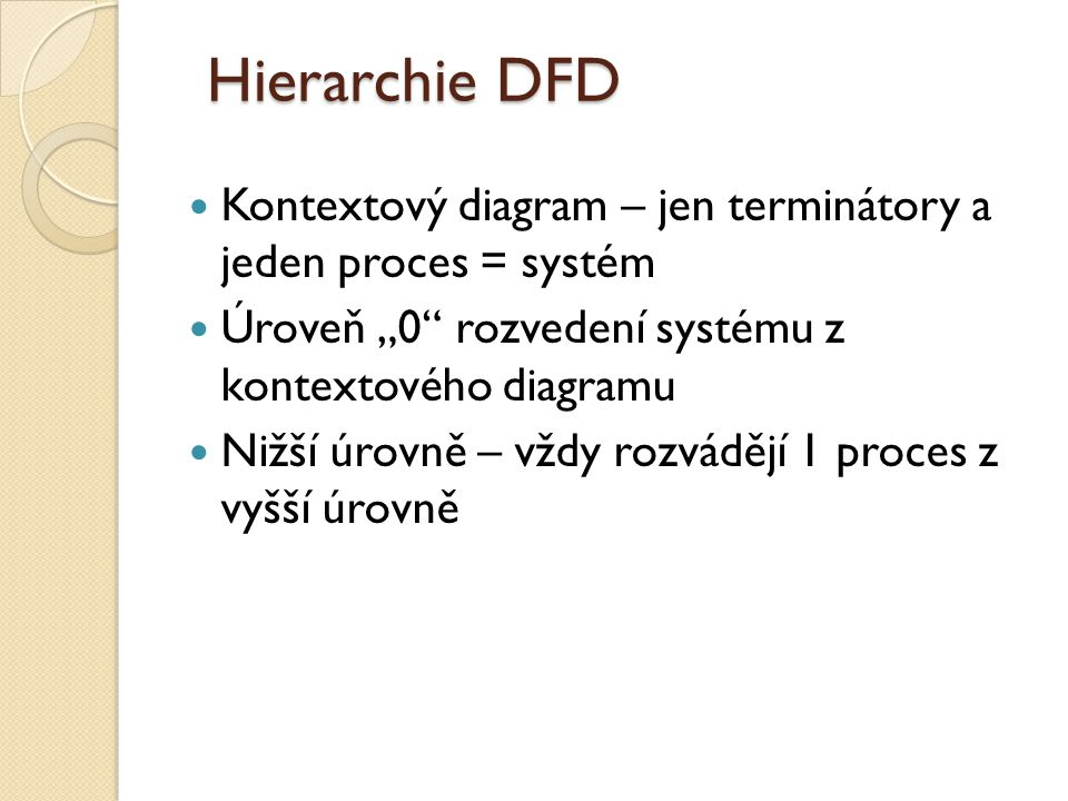 "Hierarchie DFD Kontextový diagram – jen terminátory a jeden proces = systém Úroveň ""0"" rozvedení systému z kontextového diagramu Nižší úrovně – vždy r"