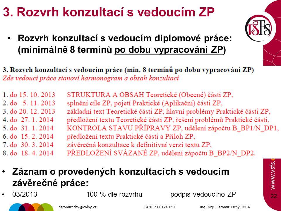 22 3. Rozvrh konzultací s vedoucím ZP Rozvrh konzultací s vedoucím diplomové práce: (minimálně 8 termínů po dobu vypracování ZP) Záznam o provedených