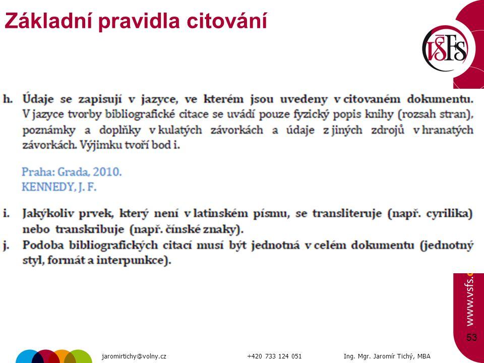 53 Základní pravidla citování jaromirtichy@volny.cz+420 733 124 051Ing. Mgr. Jaromír Tichý, MBA