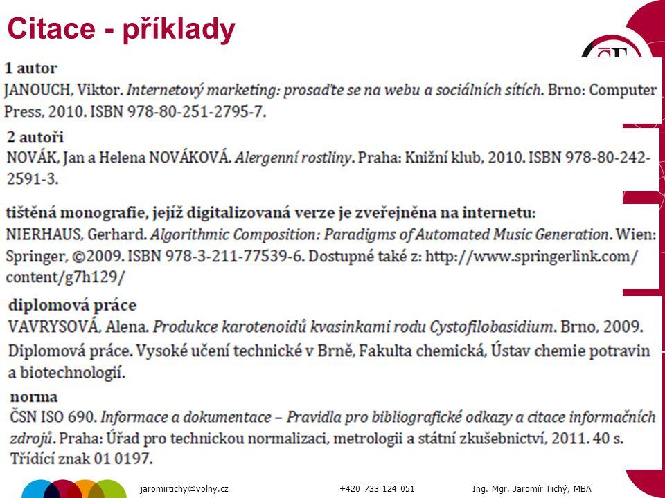54 Citace - příklady jaromirtichy@volny.cz+420 733 124 051Ing. Mgr. Jaromír Tichý, MBA