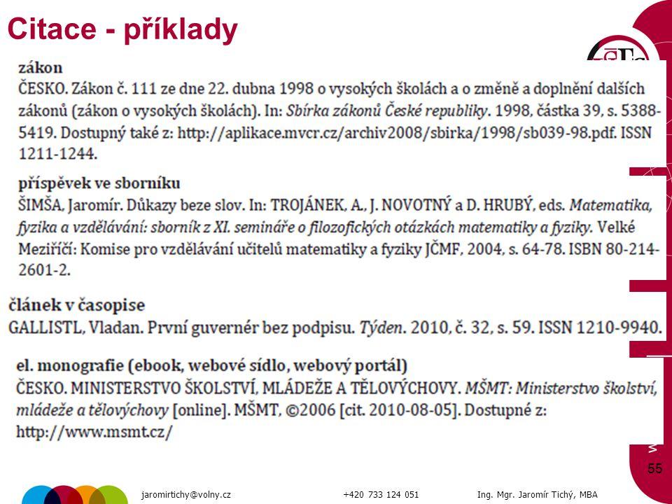 55 Citace - příklady jaromirtichy@volny.cz+420 733 124 051Ing. Mgr. Jaromír Tichý, MBA