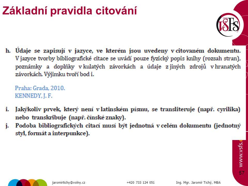 57 Základní pravidla citování jaromirtichy@volny.cz+420 733 124 051Ing. Mgr. Jaromír Tichý, MBA