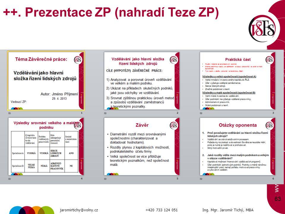 63 ++. Prezentace ZP (nahradí Teze ZP) jaromirtichy@volny.cz+420 733 124 051Ing. Mgr. Jaromír Tichý, MBA