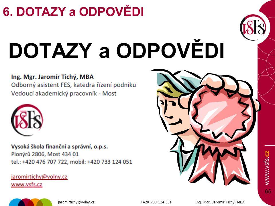 DOTAZY a ODPOVĚDI 65 6. DOTAZY a ODPOVĚDI jaromirtichy@volny.cz+420 733 124 051Ing. Mgr. Jaromír Tichý, MBA