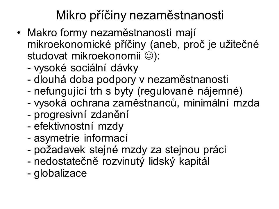 Mikro příčiny nezaměstnanosti Makro formy nezaměstnanosti mají mikroekonomické příčiny (aneb, proč je užitečné studovat mikroekonomii ): - vysoké soci