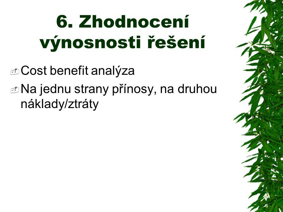 6. Zhodnocení výnosnosti řešení  Cost benefit analýza  Na jednu strany přínosy, na druhou náklady/ztráty