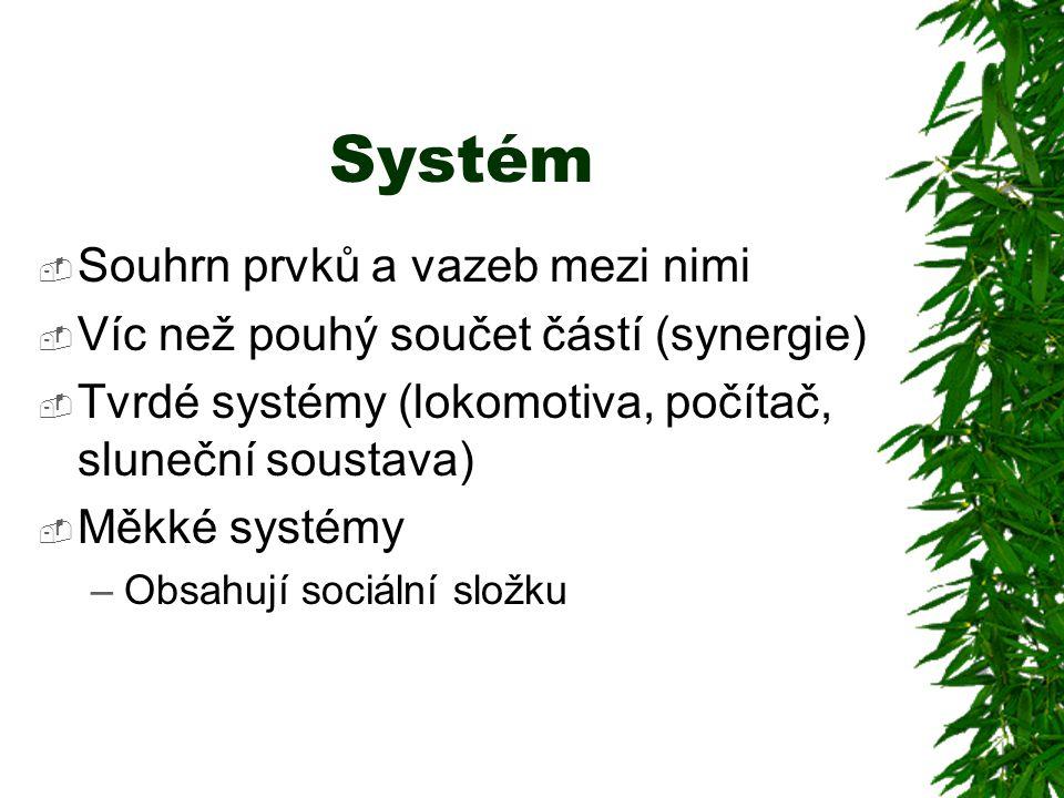 Systém  Souhrn prvků a vazeb mezi nimi  Víc než pouhý součet částí (synergie)  Tvrdé systémy (lokomotiva, počítač, sluneční soustava)  Měkké systémy –Obsahují sociální složku