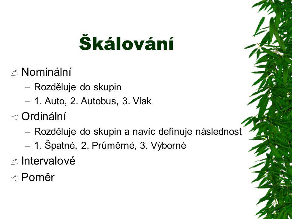 Škálování  Nominální –Rozděluje do skupin –1.Auto, 2.