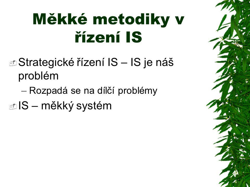 Měkké metodiky v řízení IS  Strategické řízení IS – IS je náš problém –Rozpadá se na dílčí problémy  IS – měkký systém
