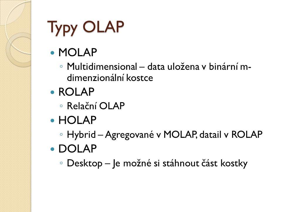 Typy OLAP MOLAP ◦ Multidimensional – data uložena v binární m- dimenzionální kostce ROLAP ◦ Relační OLAP HOLAP ◦ Hybrid – Agregované v MOLAP, datail v ROLAP DOLAP ◦ Desktop – Je možné si stáhnout část kostky