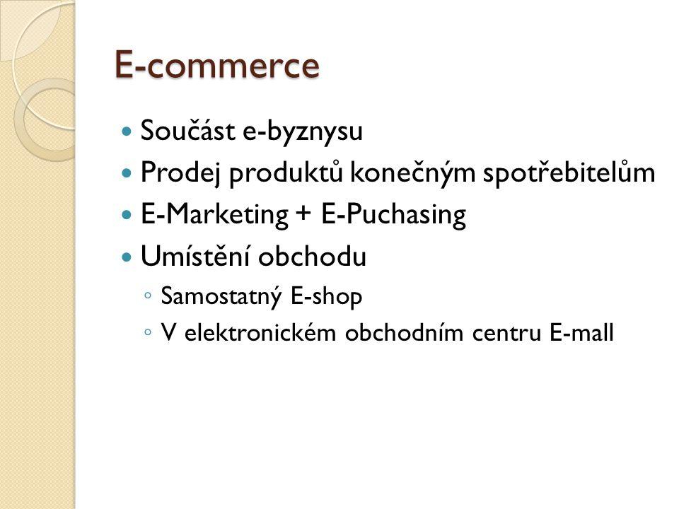 E-commerce Součást e-byznysu Prodej produktů konečným spotřebitelům E-Marketing + E-Puchasing Umístění obchodu ◦ Samostatný E-shop ◦ V elektronickém obchodním centru E-mall