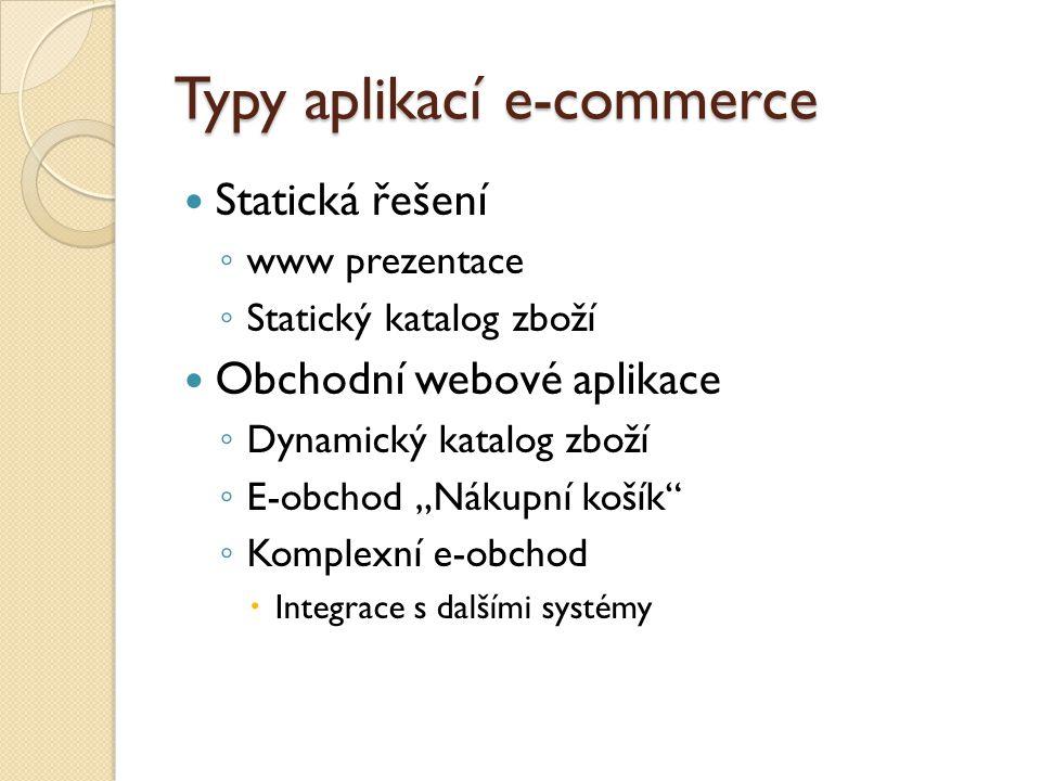 """Typy aplikací e-commerce Statická řešení ◦ www prezentace ◦ Statický katalog zboží Obchodní webové aplikace ◦ Dynamický katalog zboží ◦ E-obchod """"Nákupní košík ◦ Komplexní e-obchod  Integrace s dalšími systémy"""