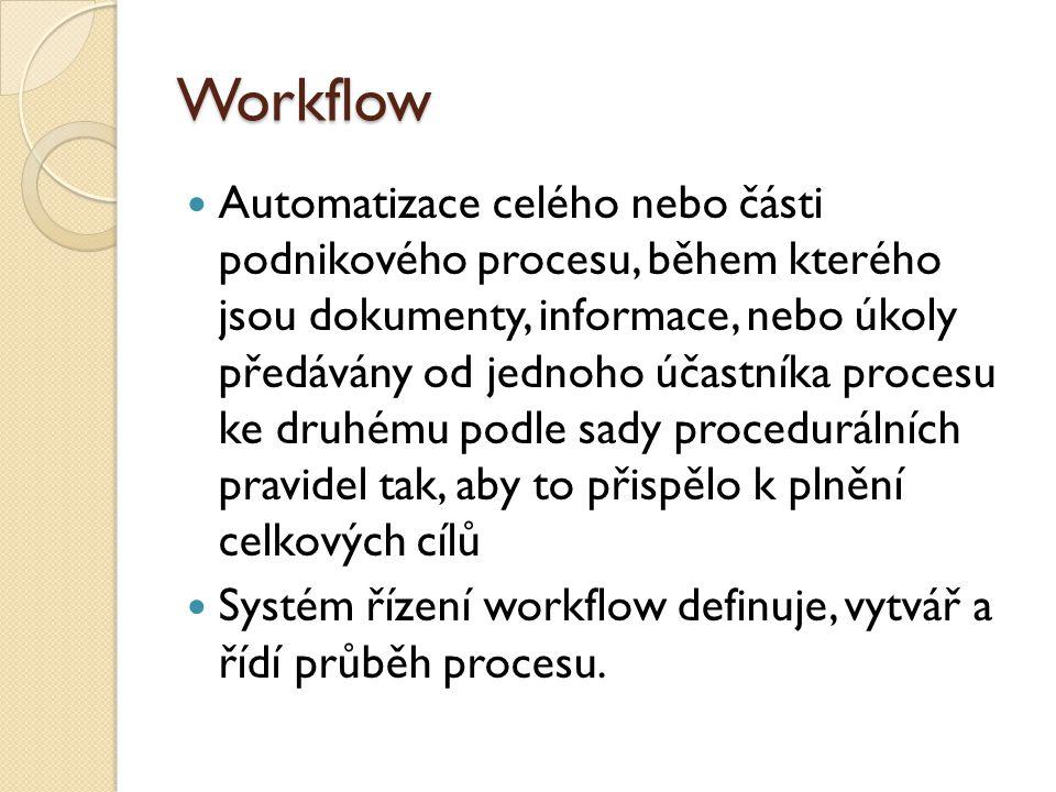 Workflow Automatizace celého nebo části podnikového procesu, během kterého jsou dokumenty, informace, nebo úkoly předávány od jednoho účastníka proces