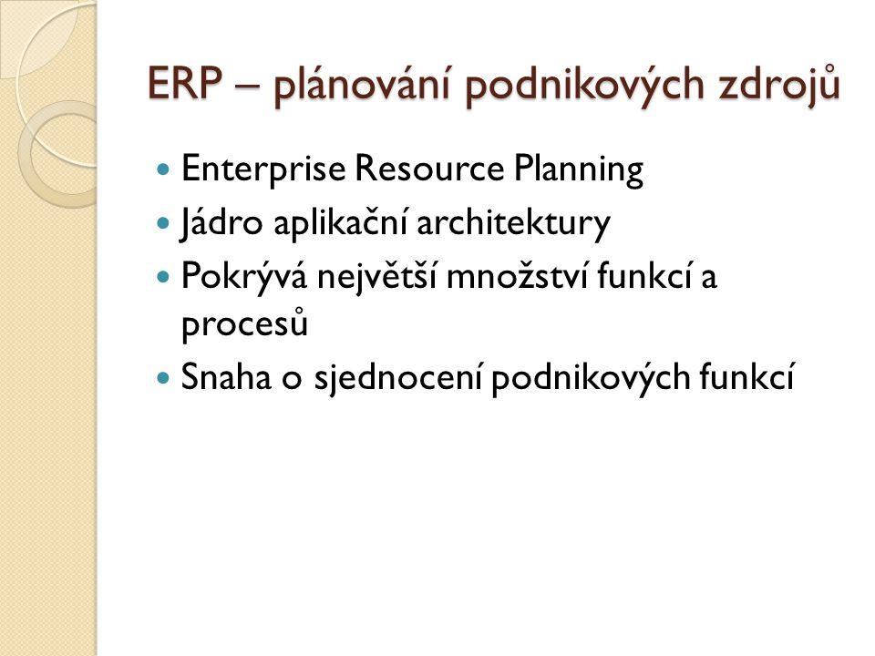 ERP – plánování podnikových zdrojů Enterprise Resource Planning Jádro aplikační architektury Pokrývá největší množství funkcí a procesů Snaha o sjedno