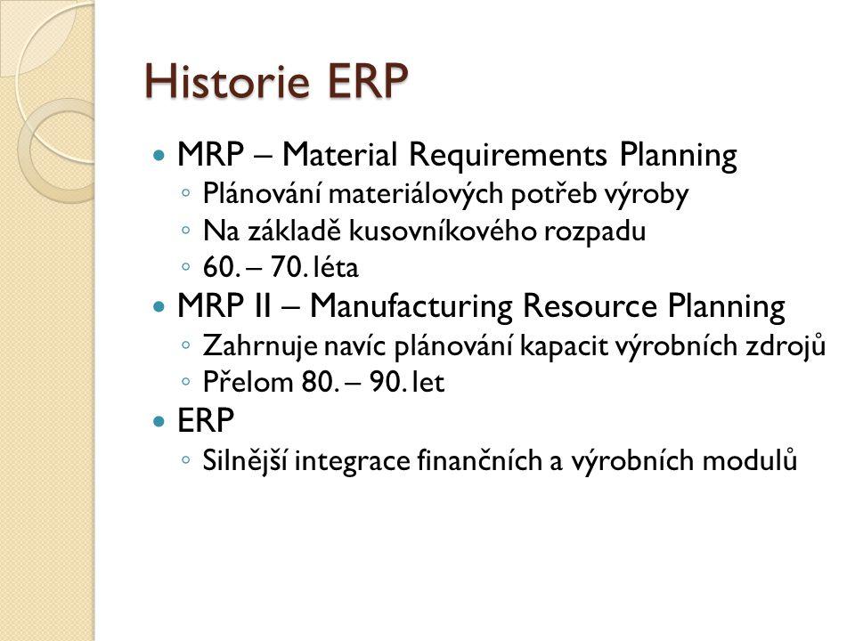 Historie ERP MRP – Material Requirements Planning ◦ Plánování materiálových potřeb výroby ◦ Na základě kusovníkového rozpadu ◦ 60. – 70. léta MRP II –