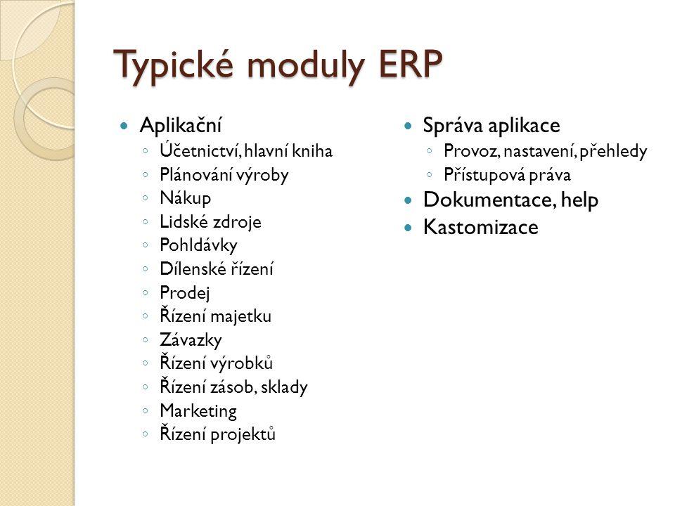 Typické moduly ERP Aplikační ◦ Účetnictví, hlavní kniha ◦ Plánování výroby ◦ Nákup ◦ Lidské zdroje ◦ Pohldávky ◦ Dílenské řízení ◦ Prodej ◦ Řízení maj