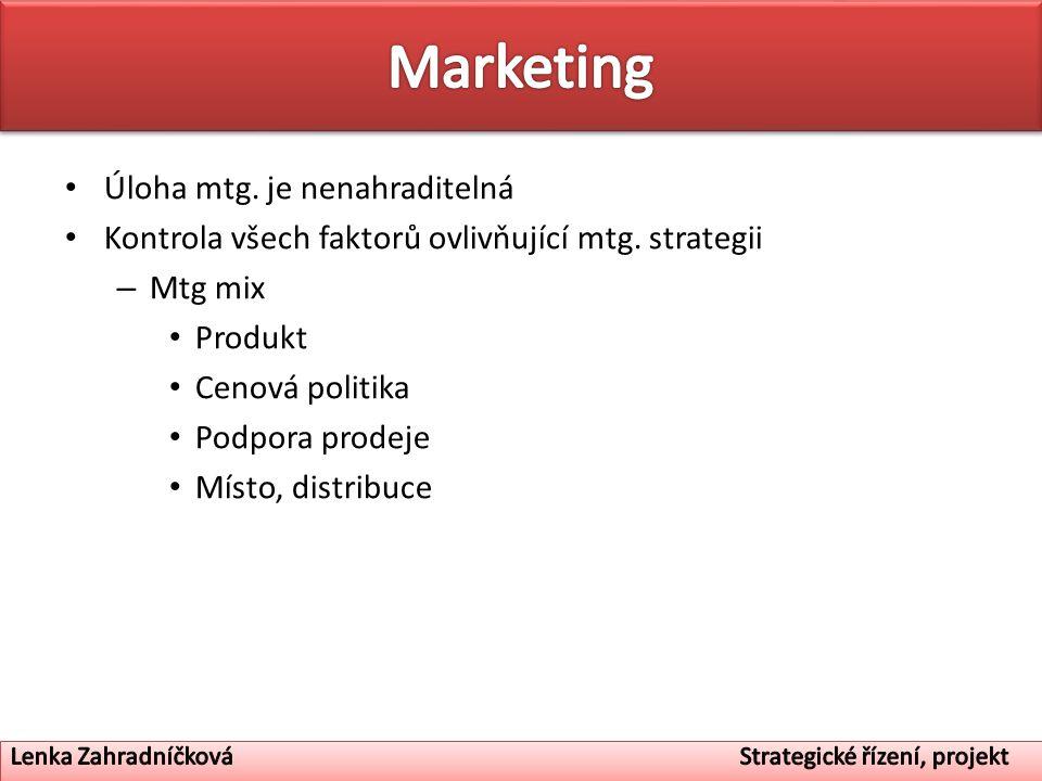 Úloha mtg. je nenahraditelná Kontrola všech faktorů ovlivňující mtg. strategii – Mtg mix Produkt Cenová politika Podpora prodeje Místo, distribuce