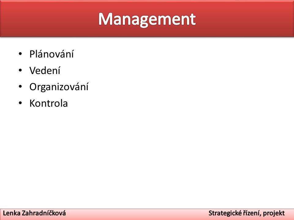 Plánování Vedení Organizování Kontrola