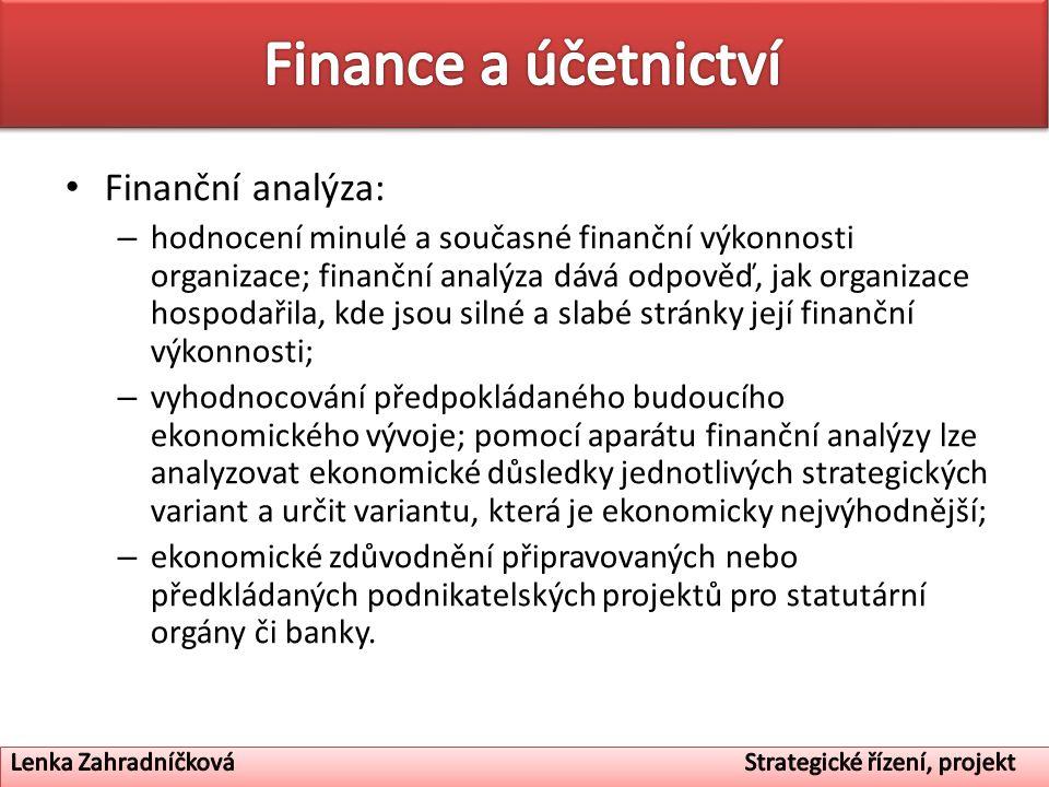 Finanční analýza: – hodnocení minulé a současné finanční výkonnosti organizace; finanční analýza dává odpověď, jak organizace hospodařila, kde jsou si