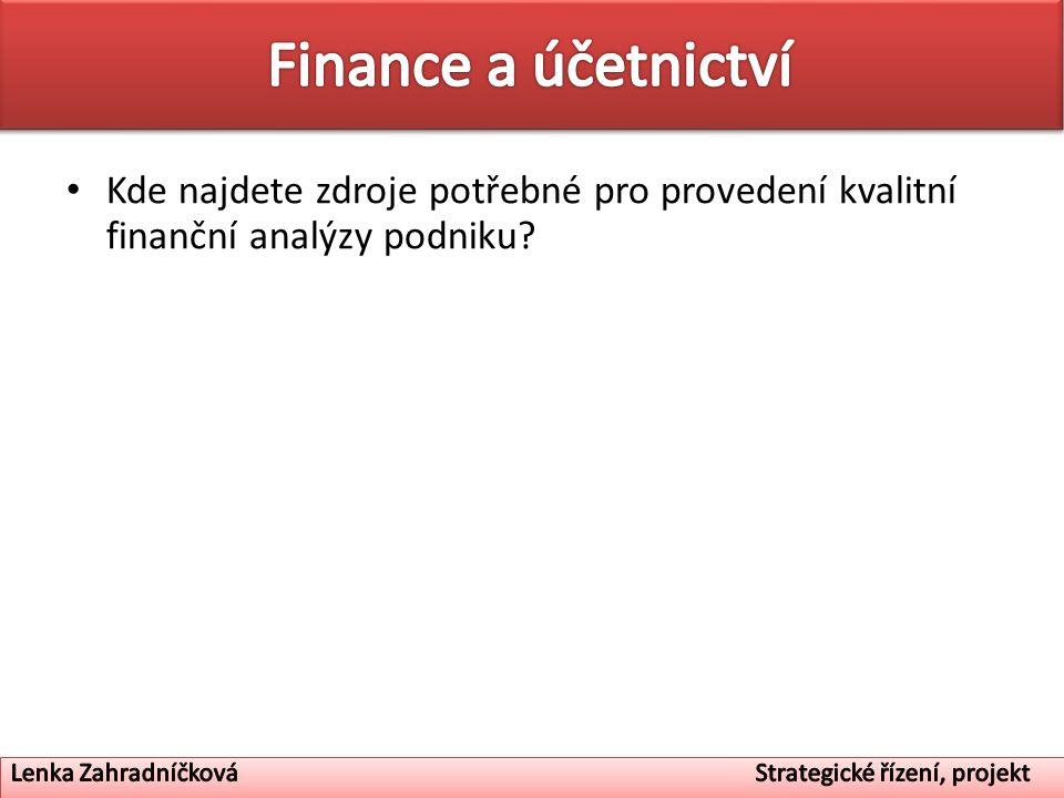 Kde najdete zdroje potřebné pro provedení kvalitní finanční analýzy podniku?