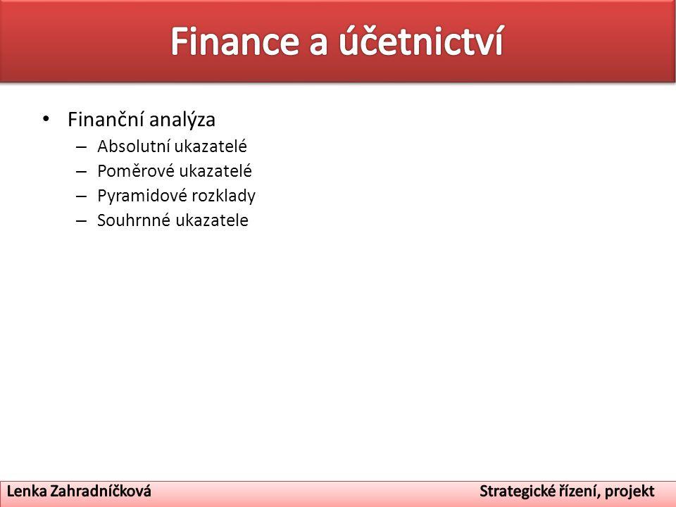 Finanční analýza – Absolutní ukazatelé – Poměrové ukazatelé – Pyramidové rozklady – Souhrnné ukazatele