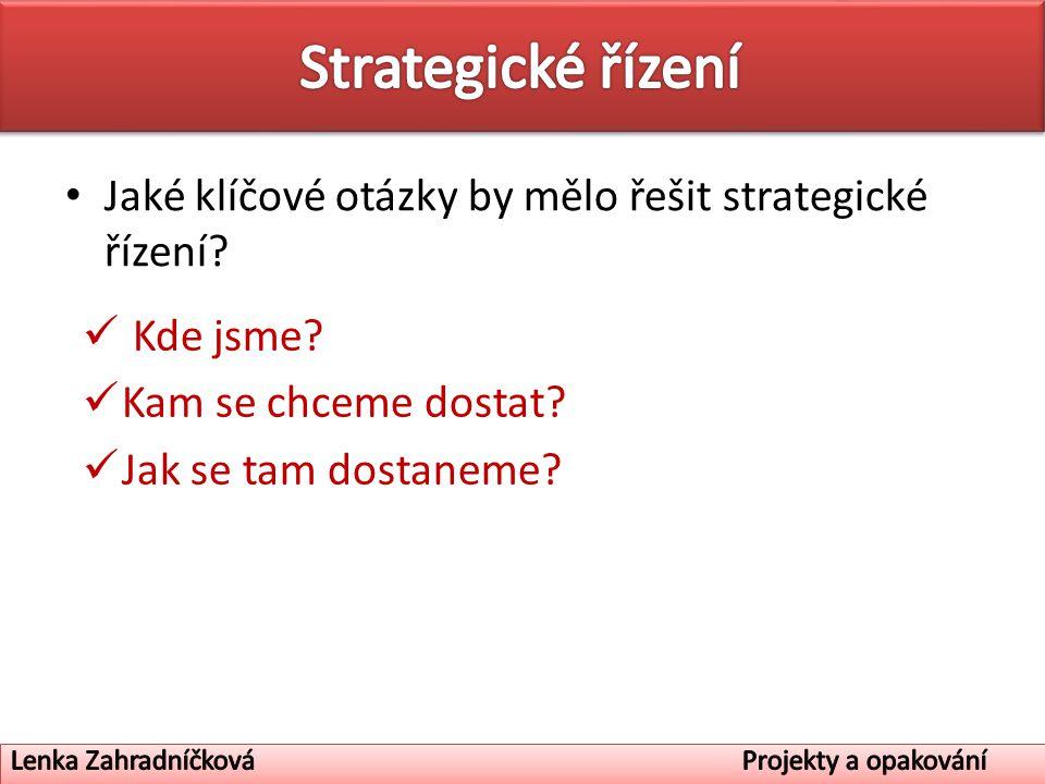 Jaké klíčové otázky by mělo řešit strategické řízení? Kde jsme? Kam se chceme dostat? Jak se tam dostaneme?