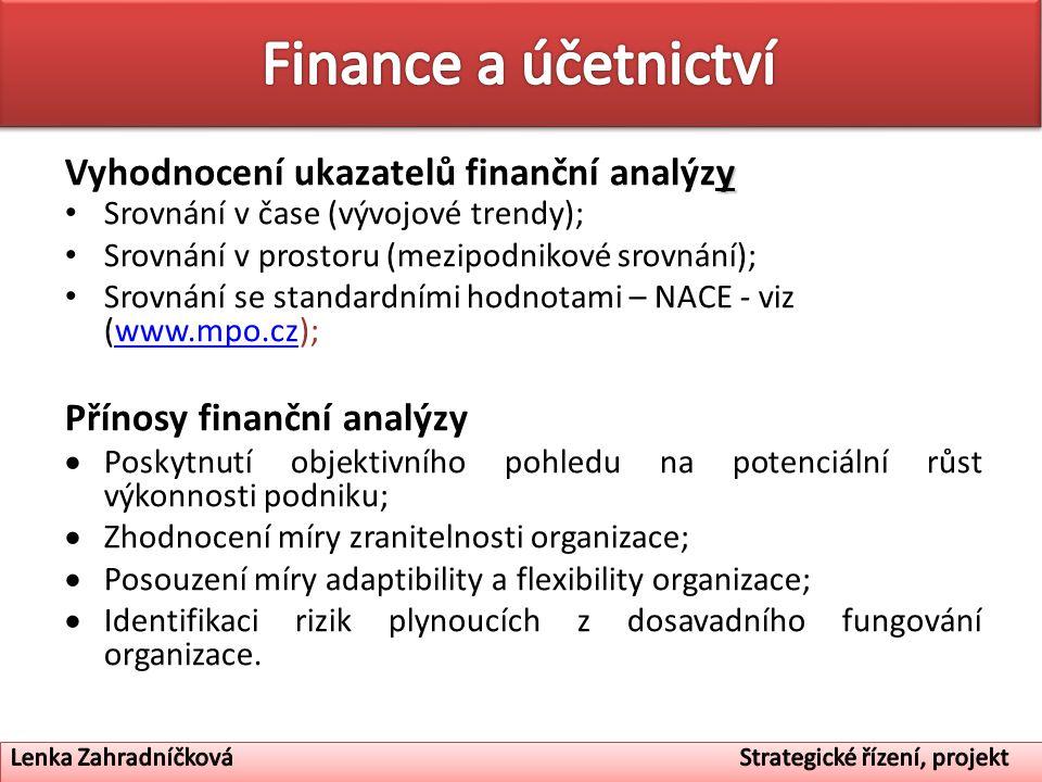y Vyhodnocení ukazatelů finanční analýzy Srovnání v čase (vývojové trendy); Srovnání v prostoru (mezipodnikové srovnání); Srovnání se standardními hod
