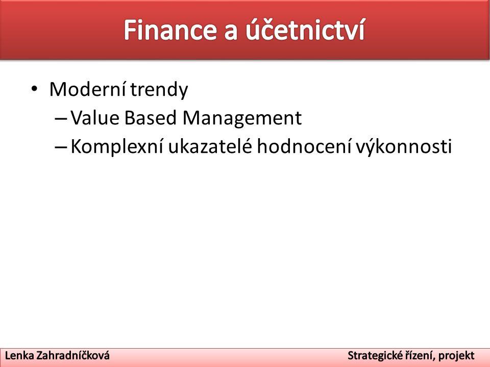 Moderní trendy – Value Based Management – Komplexní ukazatelé hodnocení výkonnosti