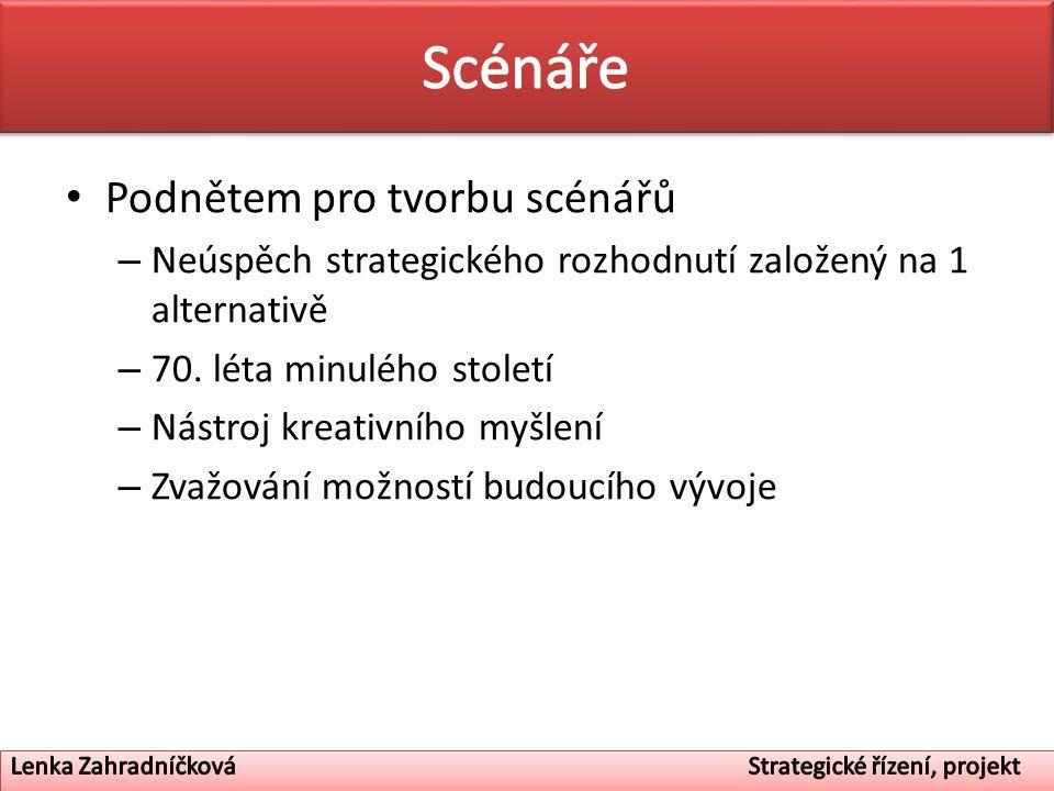 Podnětem pro tvorbu scénářů – Neúspěch strategického rozhodnutí založený na 1 alternativě – 70. léta minulého století – Nástroj kreativního myšlení –