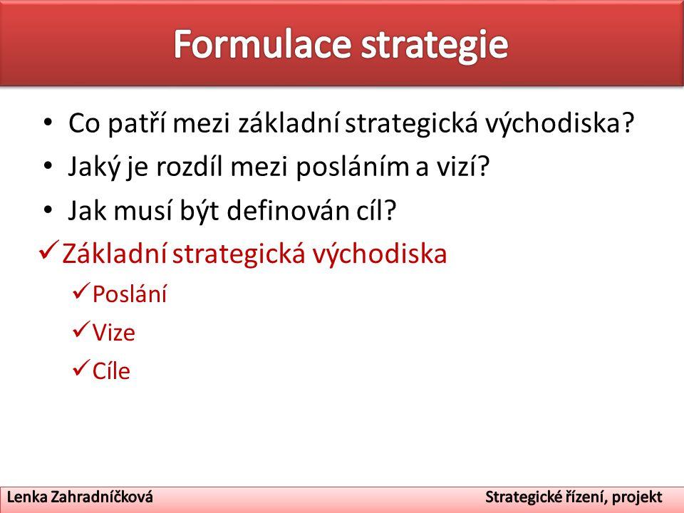 Základní strategická východiska Poslání Vize Cíle Co patří mezi základní strategická východiska? Jaký je rozdíl mezi posláním a vizí? Jak musí být def