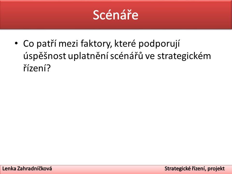 Co patří mezi faktory, které podporují úspěšnost uplatnění scénářů ve strategickém řízení?
