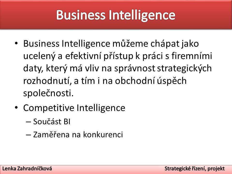 Business Intelligence můžeme chápat jako ucelený a efektivní přístup k práci s firemními daty, který má vliv na správnost strategických rozhodnutí, a