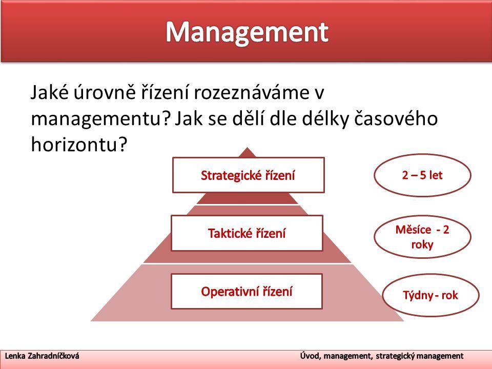 Jaké úrovně řízení rozeznáváme v managementu? Jak se dělí dle délky časového horizontu? ? ? ?
