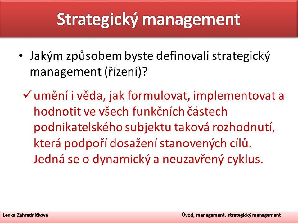 Jakým způsobem byste definovali strategický management (řízení).