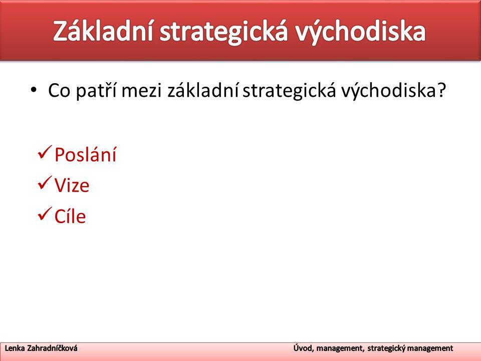 Co patří mezi základní strategická východiska? Poslání Vize Cíle