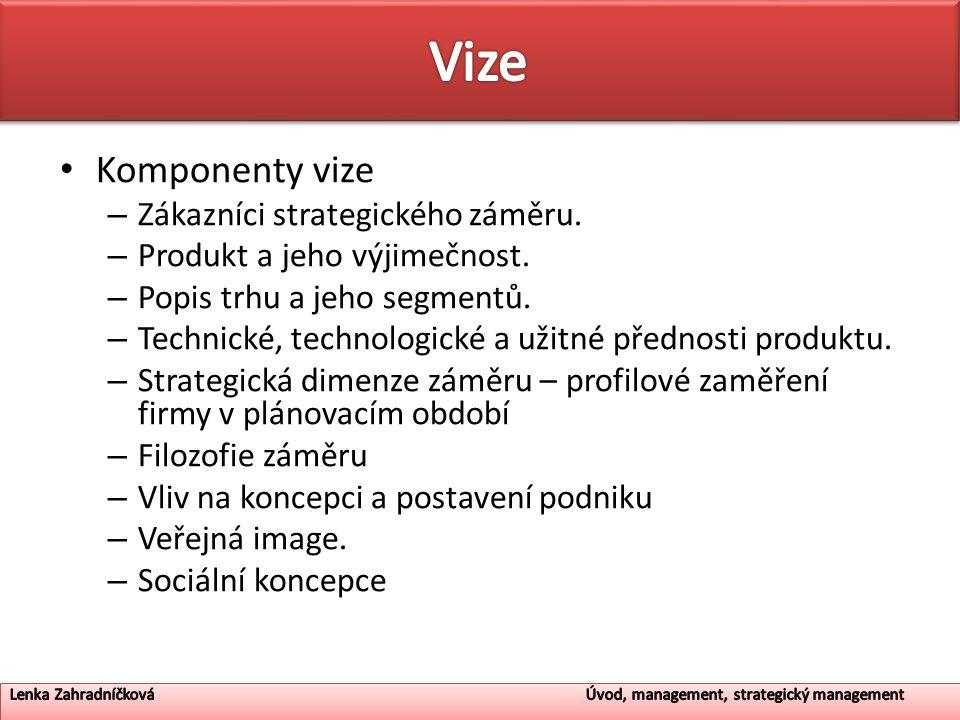 Komponenty vize – Zákazníci strategického záměru.– Produkt a jeho výjimečnost.