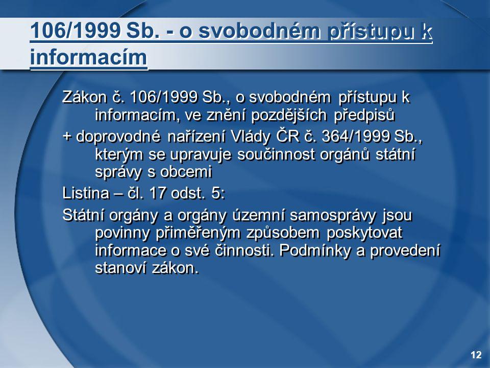 12 106/1999 Sb. - o svobodném přístupu k informacím Zákon č. 106/1999 Sb., o svobodném přístupu k informacím, ve znění pozdějších předpisů + doprovodn