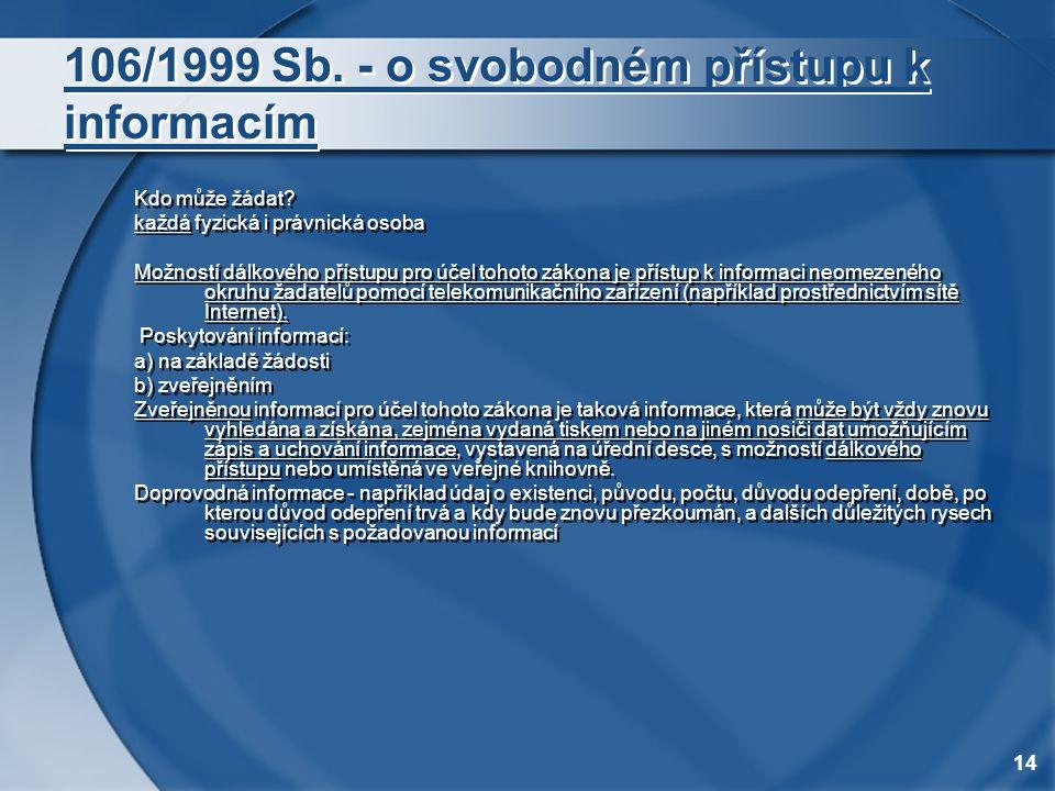 14 106/1999 Sb. - o svobodném přístupu k informacím Kdo může žádat? každá fyzická i právnická osoba Možností dálkového přístupu pro účel tohoto zákona