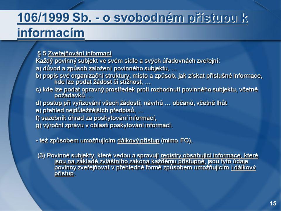 15 106/1999 Sb. - o svobodném přístupu k informacím § 5 Zveřejňování informací Každý povinný subjekt ve svém sídle a svých úřadovnách zveřejní: a) dův