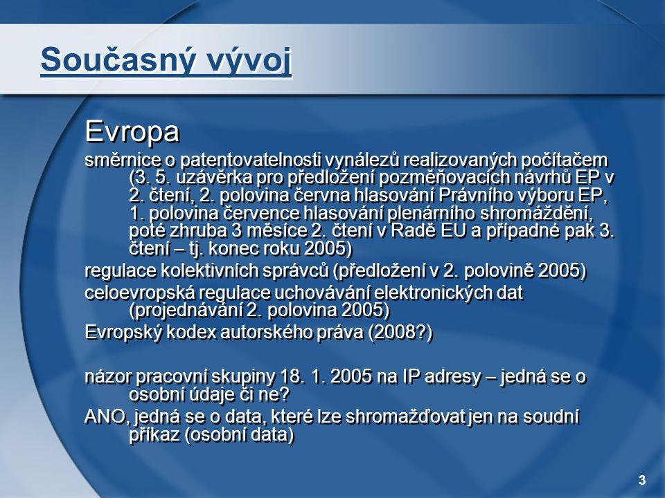 3 Současný vývoj Evropa směrnice o patentovatelnosti vynálezů realizovaných počítačem (3. 5. uzávěrka pro předložení pozměňovacích návrhů EP v 2. čten