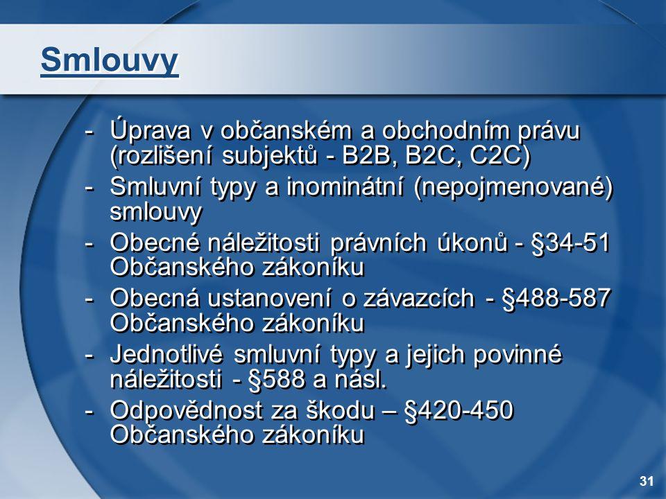 31 Smlouvy -Úprava v občanském a obchodním právu (rozlišení subjektů - B2B, B2C, C2C) -Smluvní typy a inominátní (nepojmenované) smlouvy -Obecné nálež