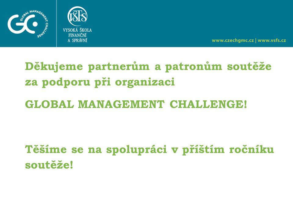 Děkujeme partnerům a patronům soutěže za podporu při organizaci GLOBAL MANAGEMENT CHALLENGE.